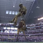 Dog-Navy-SEAL-Rappel-Down-Before-Cowboys-Cardinals-Game